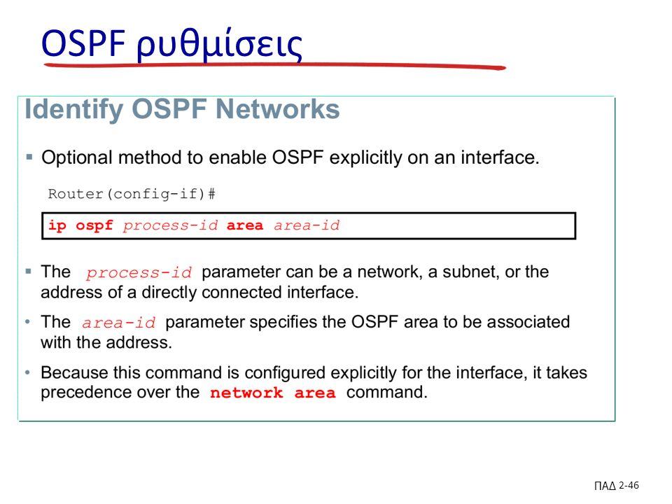 ΠΑΔ 2-46 OSPF ρυθμίσεις