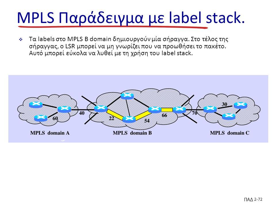 ΠΑΔ 2-72 MPLS Παράδειγμα με label stack.  Τα labels στο MPLS B domain δημιουργούν μία σήραγγα.