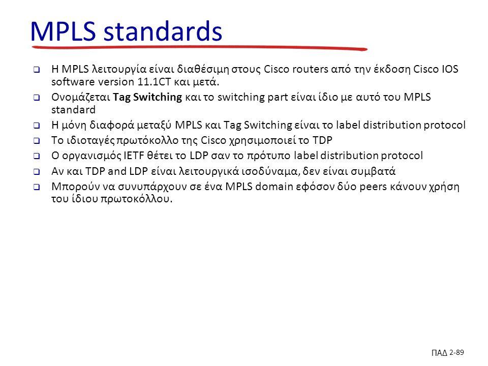 ΠΑΔ 2-89 MPLS standards  H MPLS λειτουργία είναι διαθέσιμη στους Cisco routers από την έκδοση Cisco IOS software version 11.1CT και μετά.