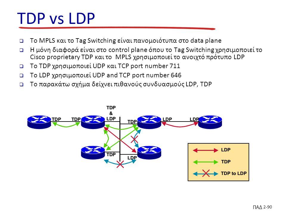 ΠΑΔ 2-90 TDP vs LDP  To MPLS και το Tag Switching είναι πανομοιότυπα στο data plane  Η μόνη διαφορά είναι στο control plane όπου το Tag Switching χρησιμοποιεί το Cisco proprietary TDP και το MPLS χρησιμοποιεί το ανοιχτό πρότυπο LDP  Το TDP χρησιμοποιεί UDP και TCP port number 711  Το LDP χρησιμοποιεί UDP and TCP port number 646  Το παρακάτω σχήμα δείχνει πιθανούς συνδυασμούς LDP, TDP