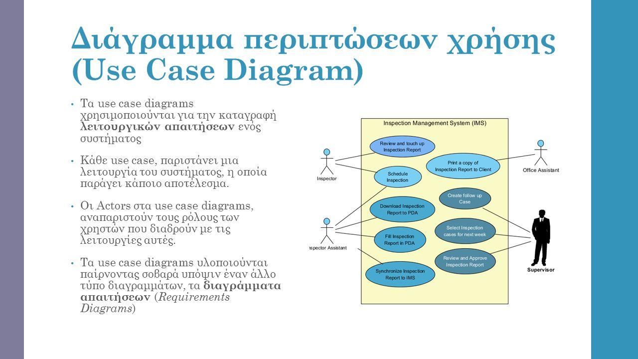 Διάγραμμα περιπτώσεων χρήσης (Use Case Diagram) Τα use case diagrams χρησιμοποιούνται για την καταγραφή λειτουργικών απαιτήσεων ενός συστήματος Κάθε use case, παριστάνει μια λειτουργία του συστήματος, η οποία παράγει κάποιο αποτέλεσμα.