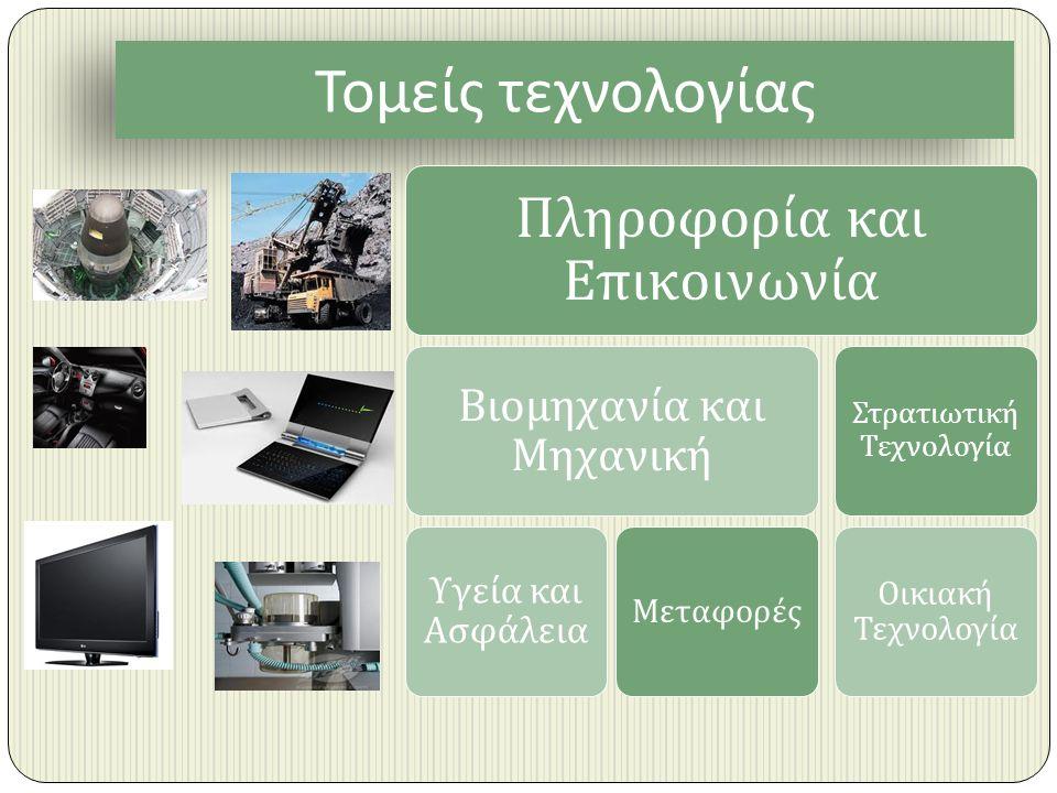 Τομείς τεχνολογίας Πληροφορία και Ε π ικοινωνία Βιομηχανία και Μηχανική Υγεία και Ασφάλεια Μεταφορές Στρατιωτική Τεχνολογία Οικιακή Τεχνολογία