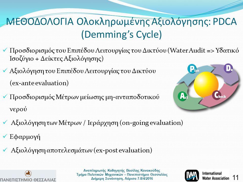 Αναπληρωτής Καθηγητής Βασίλης Κανακούδης Τμήμα Πολιτικών Μηχανικών – Πανεπιστήμιο Θεσσαλίας Διήμερη Συνάντηση, Λάρισα 7-8/4/2016 ΜΕΘΟΔΟΛΟΓΙΑ Ολοκληρωμένης Αξιολόγησης: PDCA (Demming's Cycle) 11 Προσδιορισμός του Επιπέδου Λειτουργίας του Δικτύου (Water Audit => Υδατικό Ισοζύγιο + Δείκτες Αξιολόγησης) Αξιολόγηση του Επιπέδου Λειτουργίας του Δικτύου (ex-ante evaluation) Προσδιορισμός Μέτρων μείωσης μη-ανταποδοτικού νερού Αξιολόγηση των Μέτρων / Ιεράρχηση (on-going evaluation) Εφαρμογή Αξιολόγηση αποτελεσμάτων (ex-post evaluation)