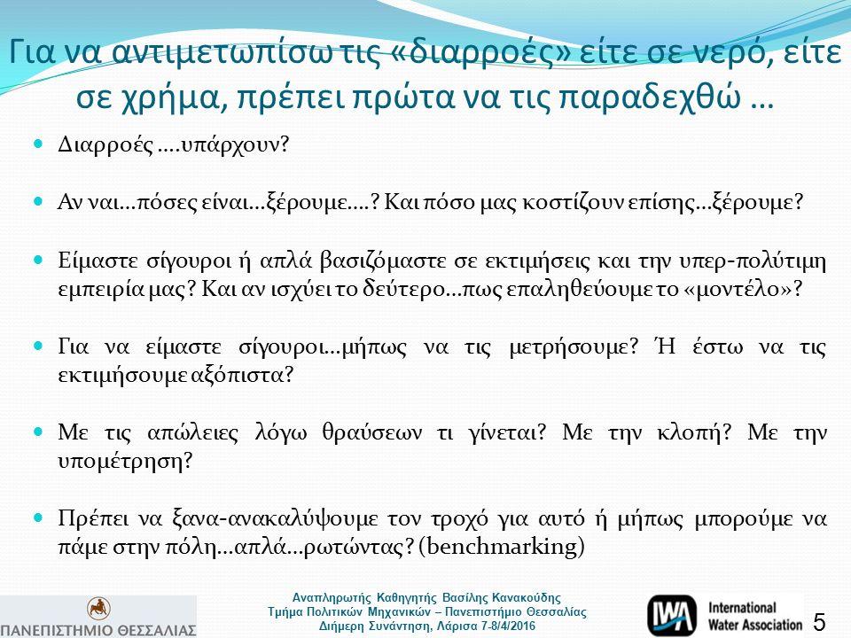 Αναπληρωτής Καθηγητής Βασίλης Κανακούδης Τμήμα Πολιτικών Μηχανικών – Πανεπιστήμιο Θεσσαλίας Διήμερη Συνάντηση, Λάρισα 7-8/4/2016 170 Δείκτες Απόδοσης της IWA (Alegre et al., 2006) + 232 μεταβλητές 16 ΒΑΣΙΚΗ ΑΡΧΗ: SUPER MARKET = ΠΑΙΡΝΩ ΜΟΝΟ ΌΤΙ ΕΧΩ ΑΝΑΓΚΗ Ολοκληρωμένη Προσέγγιση Μείωσης του NRW σε δίκτυα Ύδρευσης 2.