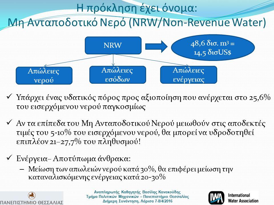 Αναπληρωτής Καθηγητής Βασίλης Κανακούδης Τμήμα Πολιτικών Μηχανικών – Πανεπιστήμιο Θεσσαλίας Διήμερη Συνάντηση, Λάρισα 7-8/4/2016 Η πρόκληση έχει όνομα: Μη Ανταποδοτικό Νερό (NRW/Non-Revenue Water) NRW Απώλειες νερού Απώλειες εσόδων Απώλειες ενέργειας 48,6 δισ.