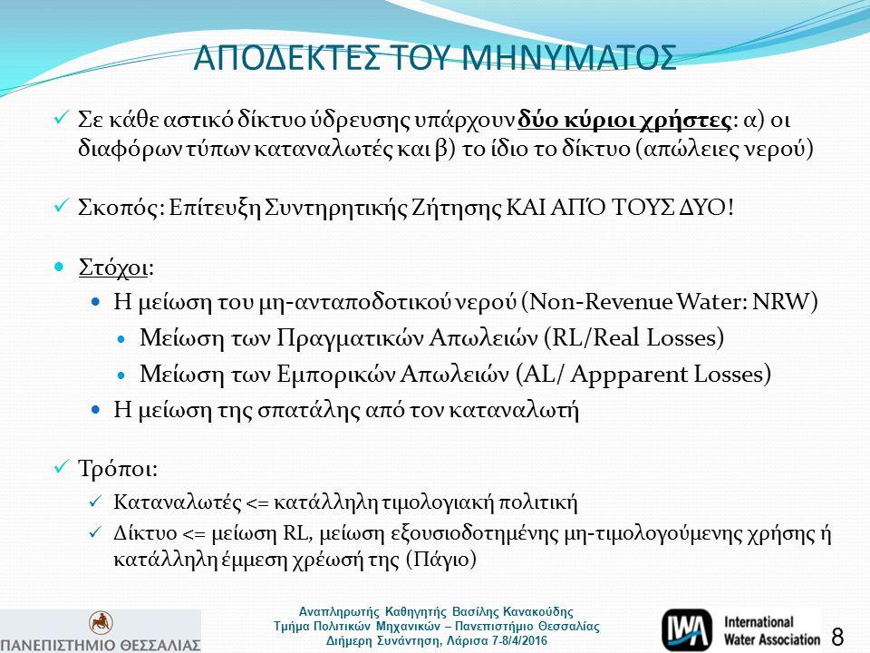 Αναπληρωτής Καθηγητής Βασίλης Κανακούδης Τμήμα Πολιτικών Μηχανικών – Πανεπιστήμιο Θεσσαλίας Διήμερη Συνάντηση, Λάρισα 7-8/4/2016 ΑΠΟΔΕΚΤΕΣ ΤΟΥ ΜΗΝΥΜΑΤΟΣ Σε κάθε αστικό δίκτυο ύδρευσης υπάρχουν δύο κύριοι χρήστες: α) οι διαφόρων τύπων καταναλωτές και β) το ίδιο το δίκτυο (απώλειες νερού) Σκοπός: Επίτευξη Συντηρητικής Ζήτησης ΚΑΙ ΑΠΌ ΤΟΥΣ ΔΥΟ.
