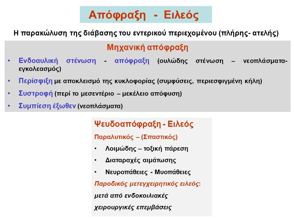 Μηχανική απόφραξη Ενδοαυλική στένωση - απόφραξη (ουλώδης στένωση – νεοπλάσματα- εγκολεασμός) Περίσφιξη με αποκλεισμό της κυκλοφορίας (συμφύσεις, περιεσφιγμένη κήλη) Συστροφή (περί το μεσεντέριο – μεκέλειο απόφυση) Συμπίεση έξωθεν (νεοπλάσματα) Απόφραξη - Ειλεός Ψευδοαπόφραξη - Ειλεός Παραλυτικός – (Σπαστικός) Λοιμώδης – τοξική πάρεση Διαταραχές αιμάτωσης Νευροπάθειες - Μυοπάθειες Παροδικός μετεγχειρητικός ειλεός: μετά από ενδοκοιλιακές χειρουργικές επεμβάσεις Η παρακώλυση της διάβασης του εντερικού περιεχομένου (πλήρης- ατελής)