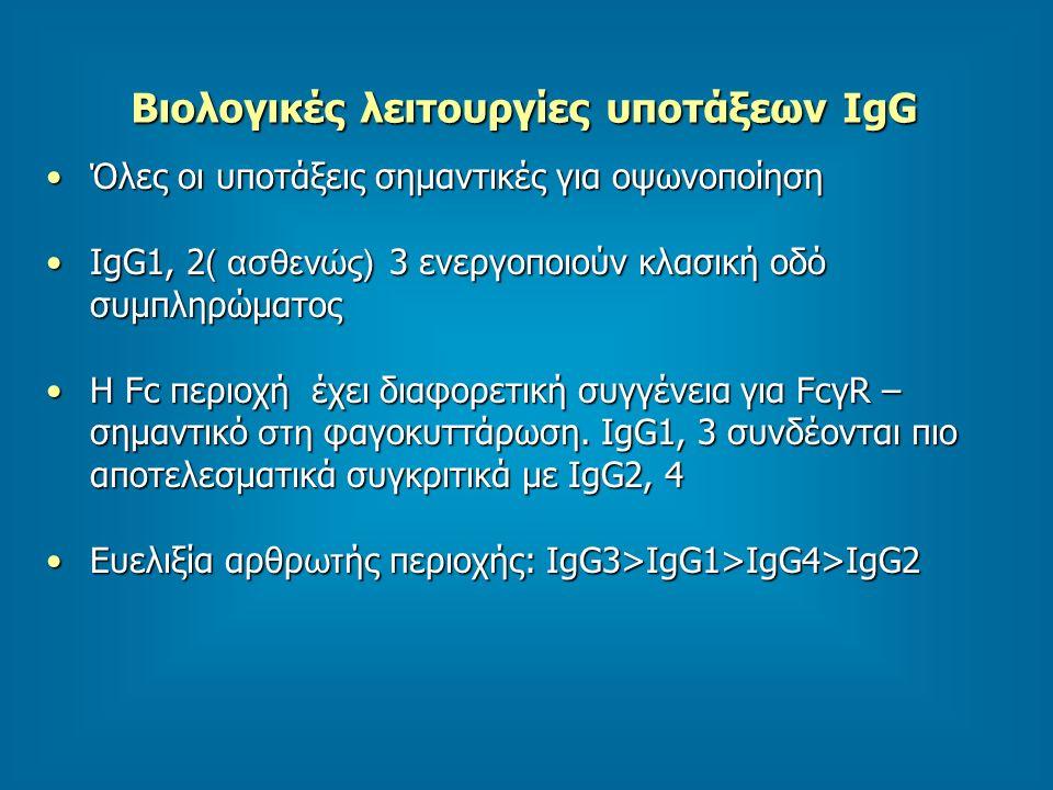 Βιολογικές λειτουργίες υποτάξεων IgG Όλες οι υποτάξεις σημαντικές για οψωνοποίησηΌλες οι υποτάξεις σημαντικές για οψωνοποίηση IgG1, 2 ( ασθενώς) 3 ενεργοποιούν κλασική οδό συμπληρώματοςIgG1, 2 ( ασθενώς) 3 ενεργοποιούν κλασική οδό συμπληρώματος Η Fc περιοχή έχει διαφορετική συγγένεια για FcγR – σημαντικό στη φαγοκυττάρωση.