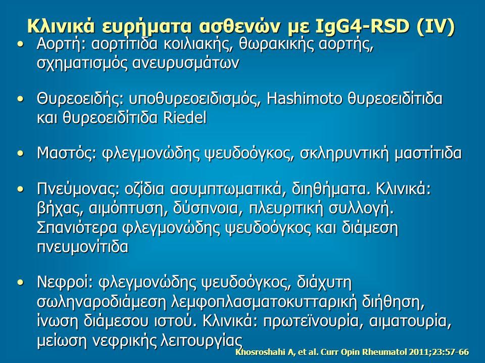 Κλινικά ευρήματα ασθενών με IgG4-RSD (ΙV) Αορτή: αορτίτιδα κοιλιακής, θωρακικής αορτής, σχηματισμός ανευρυσμάτωνΑορτή: αορτίτιδα κοιλιακής, θωρακικής αορτής, σχηματισμός ανευρυσμάτων Θυρεοειδής: υποθυρεοειδισμός, Hashimoto θυρεοειδίτιδα και θυρεοειδίτιδα RiedelΘυρεοειδής: υποθυρεοειδισμός, Hashimoto θυρεοειδίτιδα και θυρεοειδίτιδα Riedel Μαστός: φλεγμονώδης ψευδοόγκος, σκληρυντική μαστίτιδαΜαστός: φλεγμονώδης ψευδοόγκος, σκληρυντική μαστίτιδα Πνεύμονας: οζίδια ασυμπτωματικά, διηθήματα.