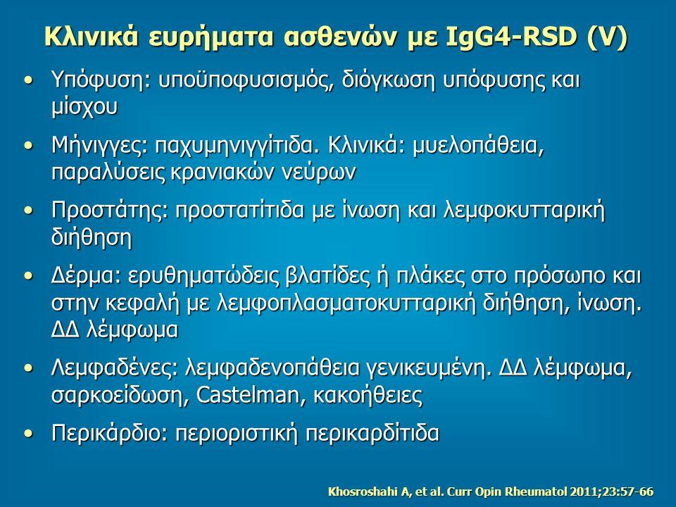 Κλινικά ευρήματα ασθενών με IgG4-RSD (V) Υπόφυση: υποϋποφυσισμός, διόγκωση υπόφυσης και μίσχουΥπόφυση: υποϋποφυσισμός, διόγκωση υπόφυσης και μίσχου Μήνιγγες: παχυμηνιγγίτιδα.