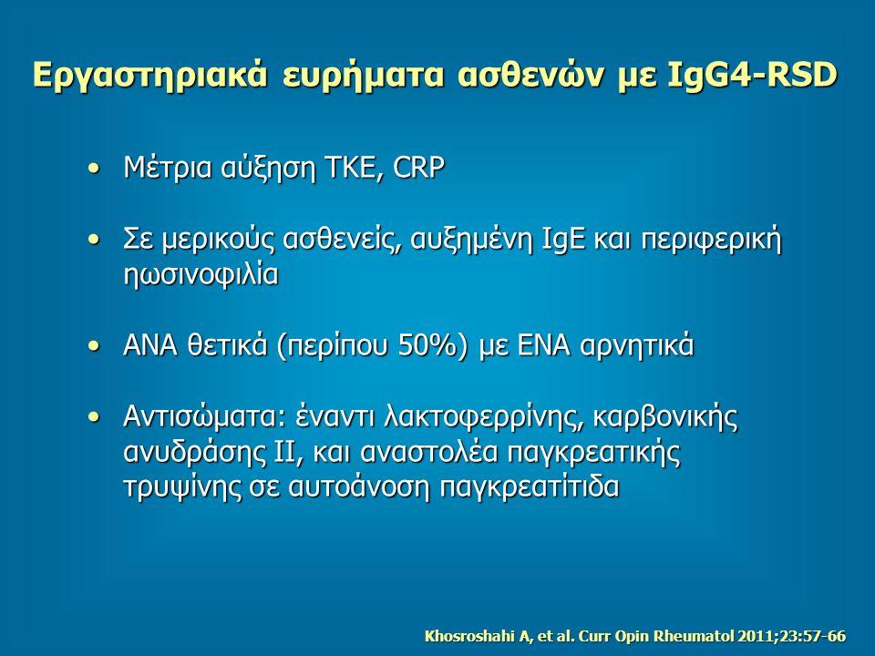 Εργαστηριακά ευρήματα ασθενών με IgG4-RSD Μέτρια αύξηση TKE, CRPΜέτρια αύξηση TKE, CRP Σε μερικούς ασθενείς, αυξημένη IgE και περιφερική ηωσινοφιλίαΣε μερικούς ασθενείς, αυξημένη IgE και περιφερική ηωσινοφιλία ΑΝΑ θετικά (περίπου 50%) με ΕΝΑ αρνητικάΑΝΑ θετικά (περίπου 50%) με ΕΝΑ αρνητικά Αντισώματα: έναντι λακτοφερρίνης, καρβονικής ανυδράσης ΙΙ, και αναστολέα παγκρεατικής τρυψίνης σε αυτοάνοση παγκρεατίτιδαΑντισώματα: έναντι λακτοφερρίνης, καρβονικής ανυδράσης ΙΙ, και αναστολέα παγκρεατικής τρυψίνης σε αυτοάνοση παγκρεατίτιδα