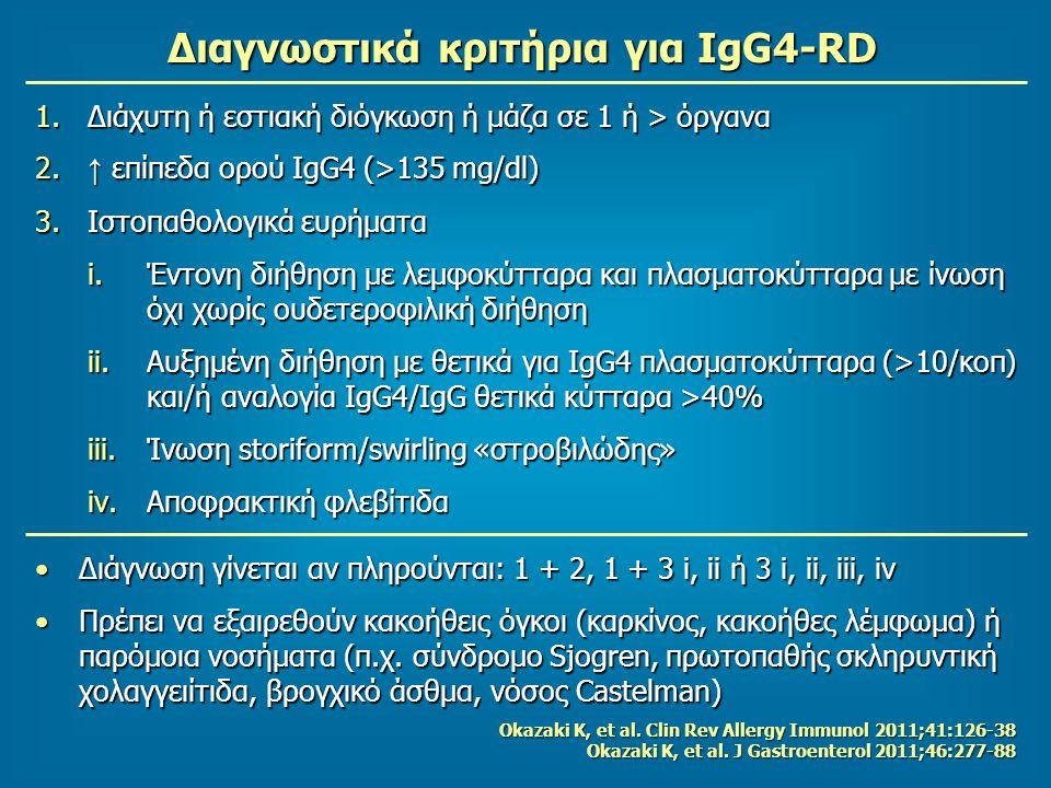Διαγνωστικά κριτήρια για IgG4-RD 1.Διάχυτη ή εστιακή διόγκωση ή μάζα σε 1 ή > όργανα 2. ↑ επίπεδα ορού IgG4 (>135 mg/dl) 3.Ιστοπαθολογικά ευρήματα i.Έ