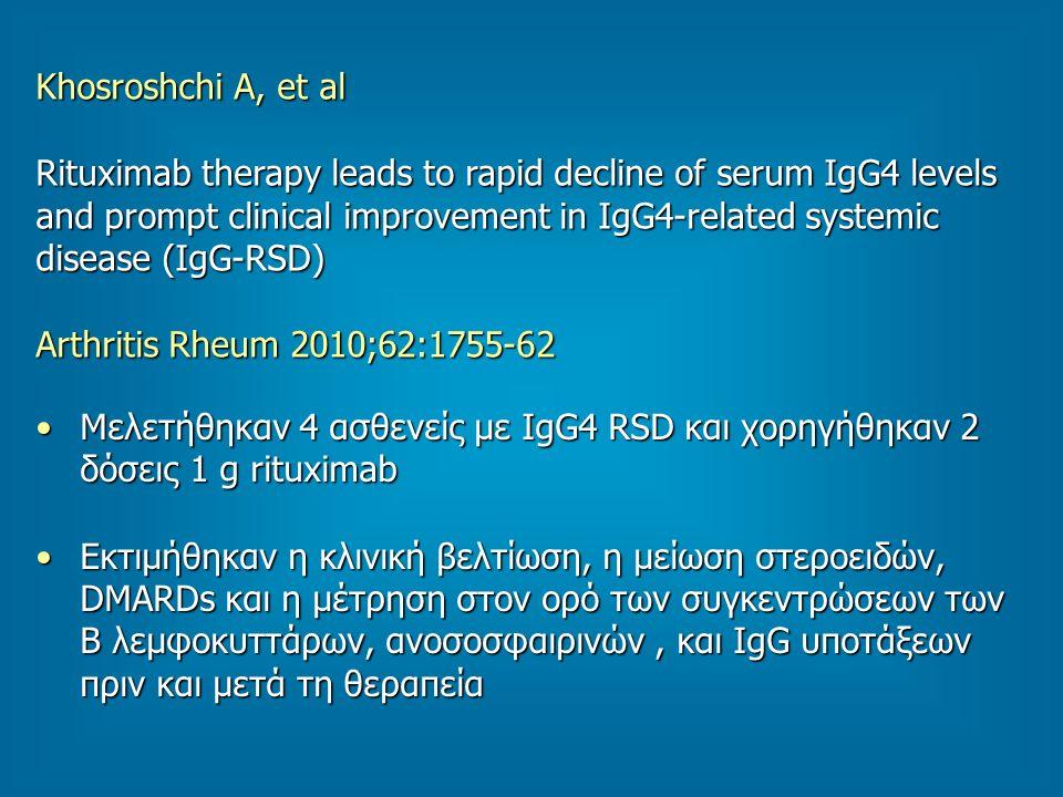 Khosroshchi A, et al Rituximab therapy leads to rapid decline of serum IgG4 levels and prompt clinical improvement in IgG4-related systemic disease (IgG-RSD) Arthritis Rheum 2010;62:1755-62 Μελετήθηκαν 4 ασθενείς με IgG4 RSD και χορηγήθηκαν 2 δόσεις 1 g rituximabΜελετήθηκαν 4 ασθενείς με IgG4 RSD και χορηγήθηκαν 2 δόσεις 1 g rituximab Εκτιμήθηκαν η κλινική βελτίωση, η μείωση στεροειδών, DMARDs και η μέτρηση στον ορό των συγκεντρώσεων των Β λεμφοκυττάρων, ανοσοσφαιρινών, και IgG υποτάξεων πριν και μετά τη θεραπείαΕκτιμήθηκαν η κλινική βελτίωση, η μείωση στεροειδών, DMARDs και η μέτρηση στον ορό των συγκεντρώσεων των Β λεμφοκυττάρων, ανοσοσφαιρινών, και IgG υποτάξεων πριν και μετά τη θεραπεία