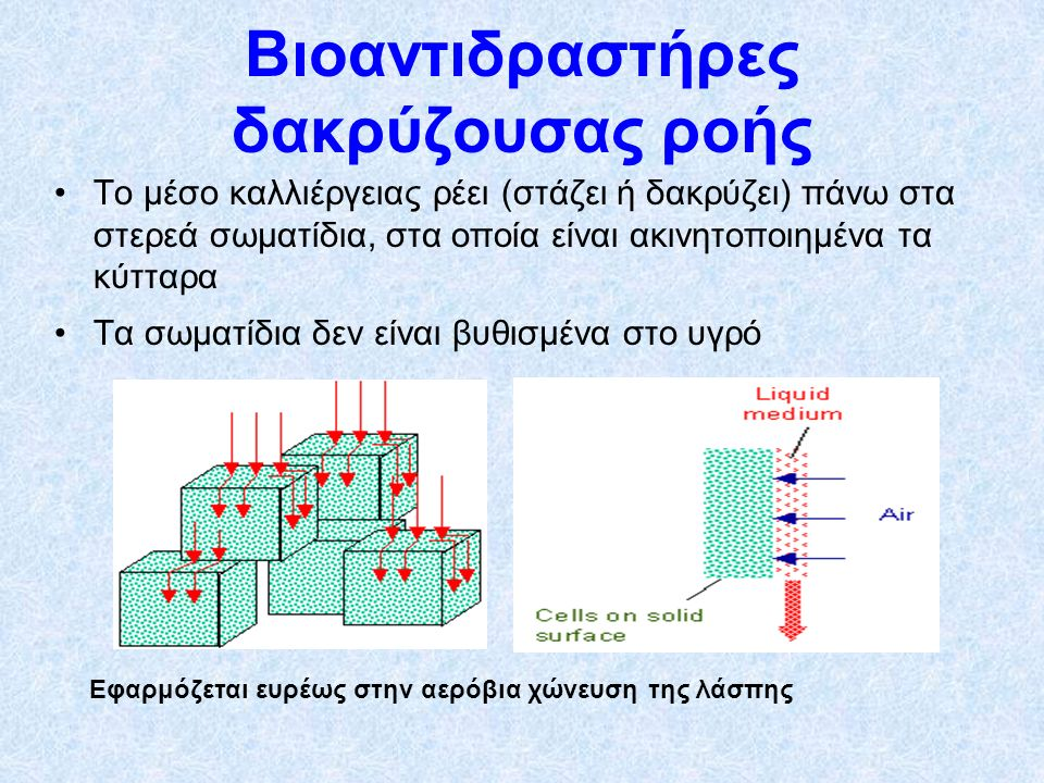 Το μέσο καλλιέργειας ρέει (στάζει ή δακρύζει) πάνω στα στερεά σωματίδια, στα οποία είναι ακινητοποιημένα τα κύτταρα Τα σωματίδια δεν είναι βυθισμένα στο υγρό Εφαρμόζεται ευρέως στην αερόβια χώνευση της λάσπης Βιοαντιδραστήρες δακρύζουσας ροής