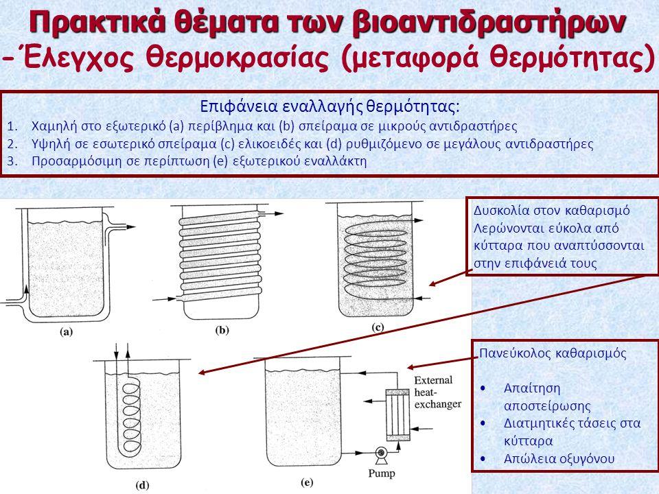 Πρακτικά θέματα των βιοαντιδραστήρων -Έλεγχος θερμοκρασίας (μεταφορά θερμότητας) Επιφάνεια εναλλαγής θερμότητας: 1.Χαμηλή στο εξωτερικό (a) περίβλημα και (b) σπείραμα σε μικρούς αντιδραστήρες 2.Υψηλή σε εσωτερικό σπείραμα (c) ελικοειδές και (d) ρυθμιζόμενο σε μεγάλους αντιδραστήρες 3.Προσαρμόσιμη σε περίπτωση (e) εξωτερικού εναλλάκτη Δυσκολία στον καθαρισμό Λερώνονται εύκολα από κύτταρα που αναπτύσσονται στην επιφάνειά τους Πανεύκολος καθαρισμός Απαίτηση αποστείρωσης Διατμητικές τάσεις στα κύτταρα Απώλεια οξυγόνου