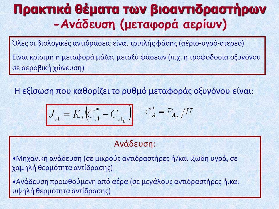 Όλες οι βιολογικές αντιδράσεις είναι τριπλής φάσης (αέριο-υγρό-στερεό) Είναι κρίσιμη η μεταφορά μάζας μεταξύ φάσεων (π.χ.