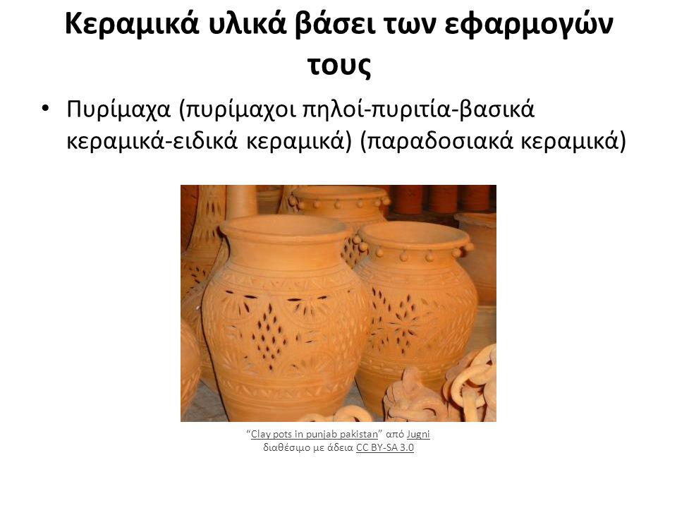 Κεραμικά υλικά βάσει των εφαρμογών τους Πυρίμαχα (πυρίμαχοι πηλοί-πυριτία-βασικά κεραμικά-ειδικά κεραμικά) (παραδοσιακά κεραμικά) Clay pots in punjab pakistan από Jugni διαθέσιμο με άδεια CC BY-SA 3.0Clay pots in punjab pakistanJugniCC BY-SA 3.0