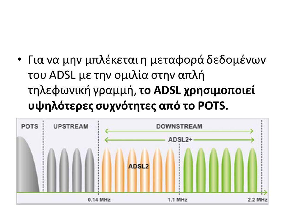 Για να μην μπλέκεται η μεταφορά δεδομένων του ADSL με την ομιλία στην απλή τηλεφωνική γραμμή, το ADSL χρησιμοποιεί υψηλότερες συχνότητες από το POTS.