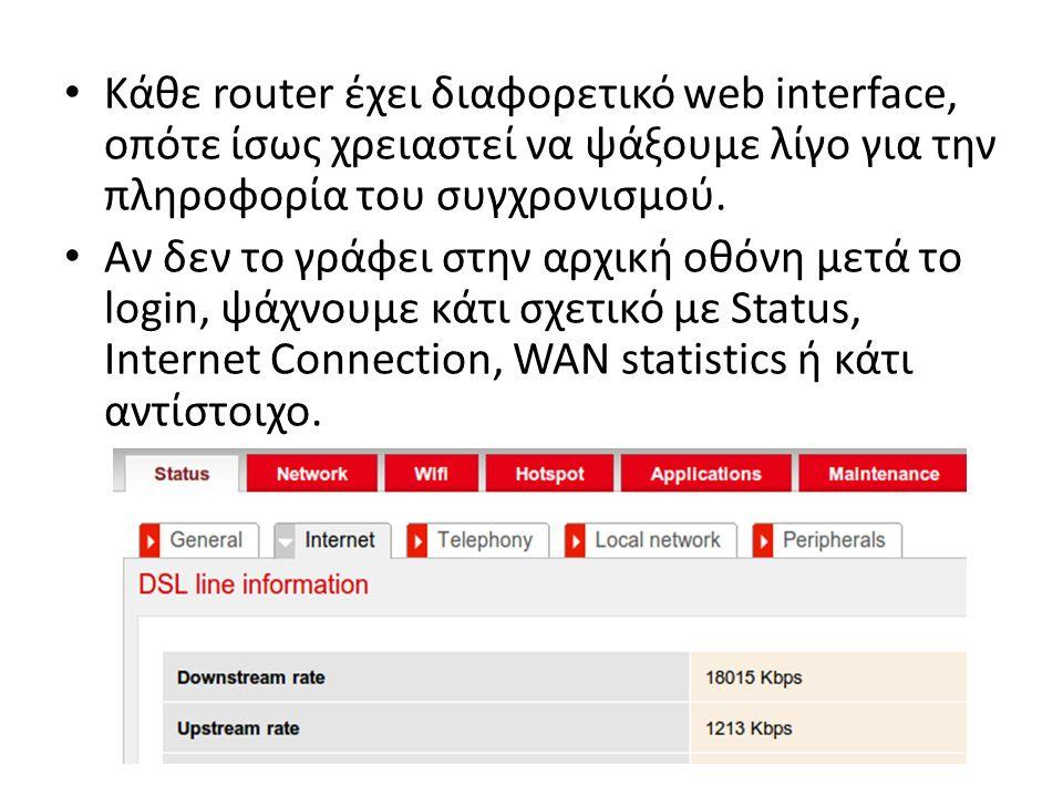 Κάθε router έχει διαφορετικό web interface, οπότε ίσως χρειαστεί να ψάξουμε λίγο για την πληροφορία του συγχρονισμού.