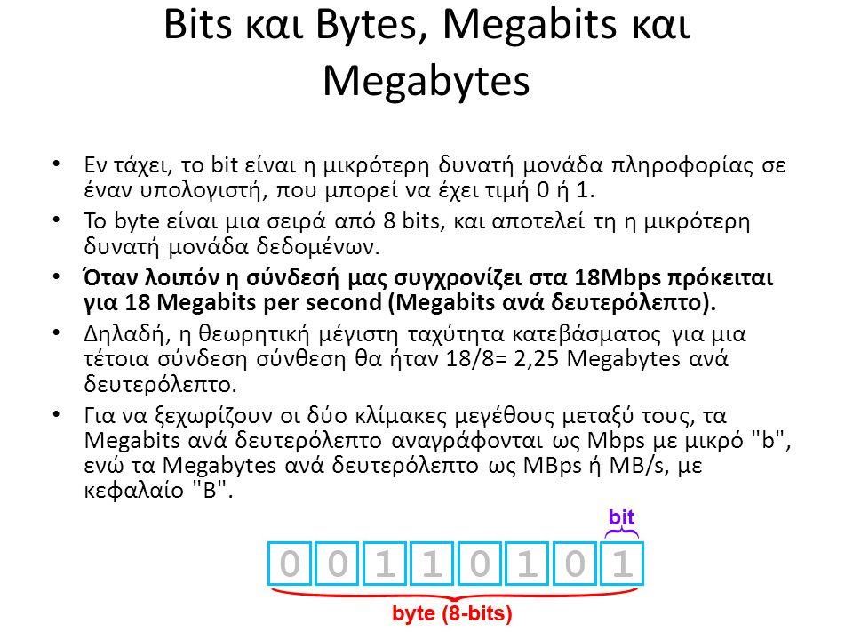 Bits και Bytes, Megabits και Megabytes Εν τάχει, το bit είναι η μικρότερη δυνατή μονάδα πληροφορίας σε έναν υπολογιστή, που μπορεί να έχει τιμή 0 ή 1.
