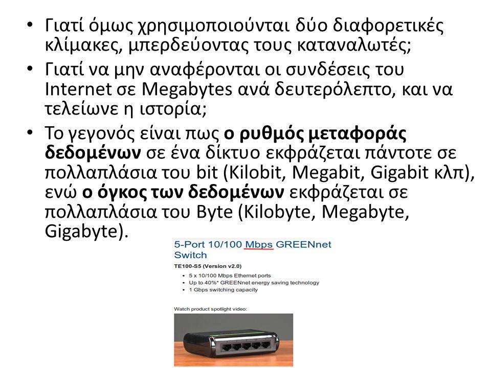 Γιατί όμως χρησιμοποιούνται δύο διαφορετικές κλίμακες, μπερδεύοντας τους καταναλωτές; Γιατί να μην αναφέρονται οι συνδέσεις του Internet σε Megabytes ανά δευτερόλεπτο, και να τελείωνε η ιστορία; Το γεγονός είναι πως ο ρυθμός μεταφοράς δεδομένων σε ένα δίκτυο εκφράζεται πάντοτε σε πολλαπλάσια του bit (Kilobit, Megabit, Gigabit κλπ), ενώ ο όγκος των δεδομένων εκφράζεται σε πολλαπλάσια του Byte (Kilobyte, Megabyte, Gigabyte).