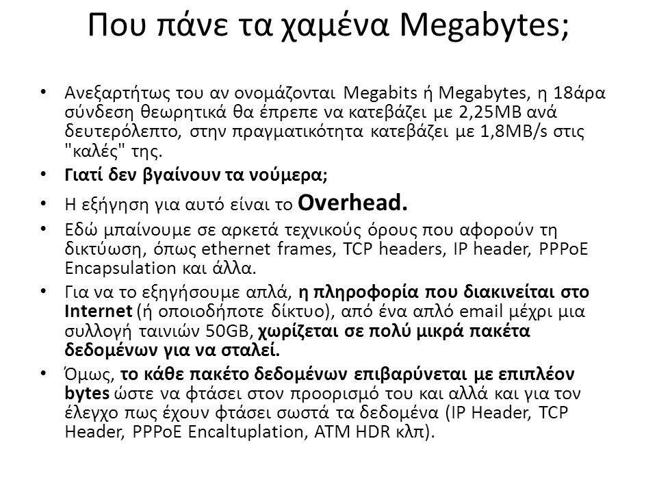 Που πάνε τα χαμένα Megabytes; Ανεξαρτήτως του αν ονομάζονται Megabits ή Megabytes, η 18άρα σύνδεση θεωρητικά θα έπρεπε να κατεβάζει με 2,25MB ανά δευτερόλεπτο, στην πραγματικότητα κατεβάζει με 1,8MB/s στις καλές της.