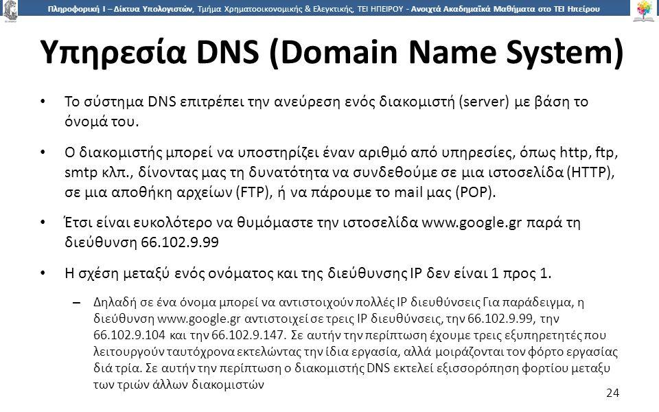 2424 Πληροφορική Ι – Δίκτυα Υπολογιστών, Τμήμα Χρηματοοικονομικής & Ελεγκτικής, ΤΕΙ ΗΠΕΙΡΟΥ - Ανοιχτά Ακαδημαϊκά Μαθήματα στο ΤΕΙ Ηπείρου Υπηρεσία DNS (Domain Name System) Το σύστημα DNS επιτρέπει την ανεύρεση ενός διακομιστή (server) με βάση το όνομά του.