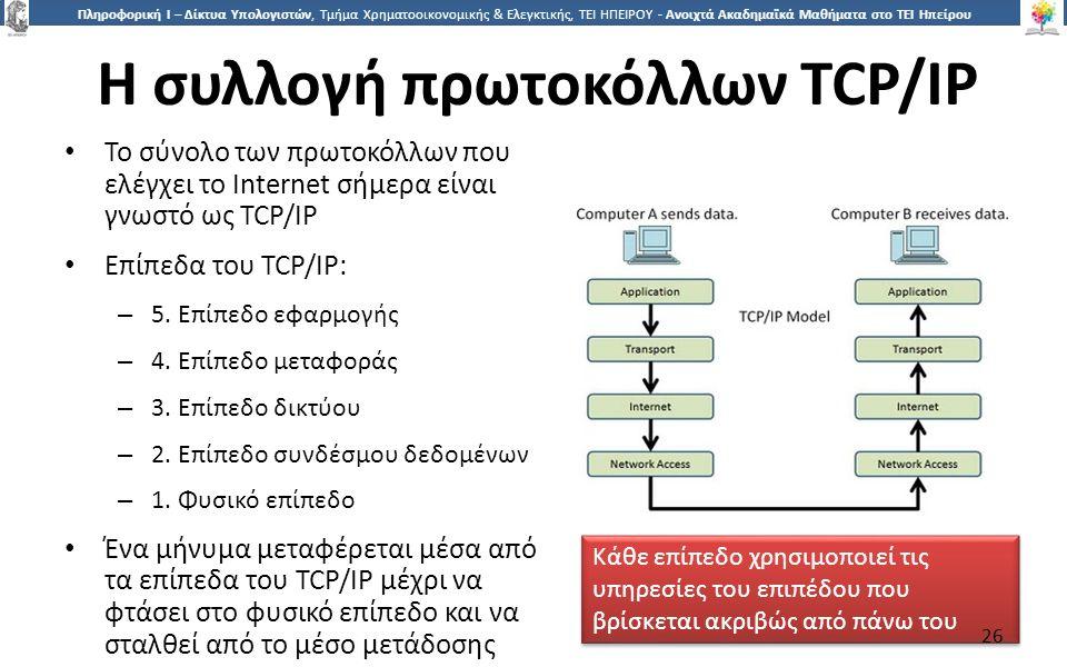 2626 Πληροφορική Ι – Δίκτυα Υπολογιστών, Τμήμα Χρηματοοικονομικής & Ελεγκτικής, ΤΕΙ ΗΠΕΙΡΟΥ - Ανοιχτά Ακαδημαϊκά Μαθήματα στο ΤΕΙ Ηπείρου Η συλλογή πρωτοκόλλων TCP/IP Το σύνολο των πρωτοκόλλων που ελέγχει το Internet σήμερα είναι γνωστό ως TCP/IP Επίπεδα του TCP/IP: – 5.