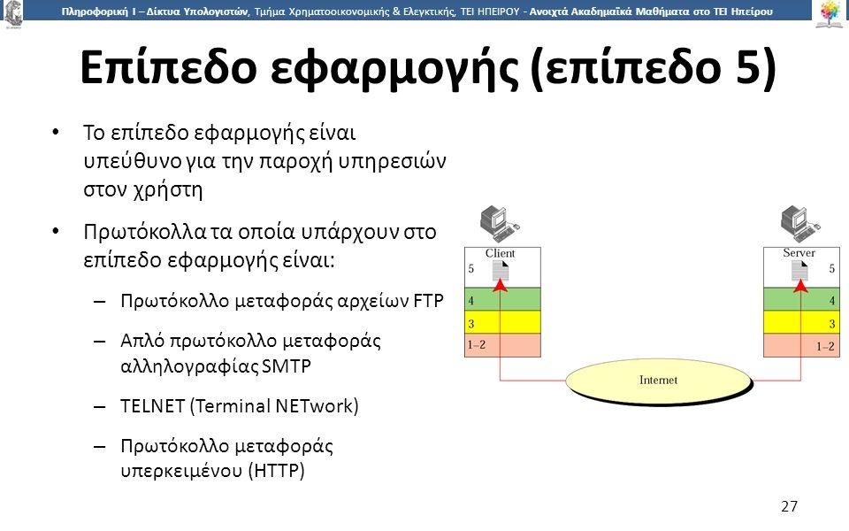 2727 Πληροφορική Ι – Δίκτυα Υπολογιστών, Τμήμα Χρηματοοικονομικής & Ελεγκτικής, ΤΕΙ ΗΠΕΙΡΟΥ - Ανοιχτά Ακαδημαϊκά Μαθήματα στο ΤΕΙ Ηπείρου Επίπεδο εφαρμογής (επίπεδο 5) Το επίπεδο εφαρμογής είναι υπεύθυνο για την παροχή υπηρεσιών στον χρήστη Πρωτόκολλα τα οποία υπάρχουν στο επίπεδο εφαρμογής είναι: – Πρωτόκολλο μεταφοράς αρχείων FTP – Απλό πρωτόκολλο μεταφοράς αλληλογραφίας SMTP – TELNET (Terminal NETwork) – Πρωτόκολλο μεταφοράς υπερκειμένου (HTTP) 27