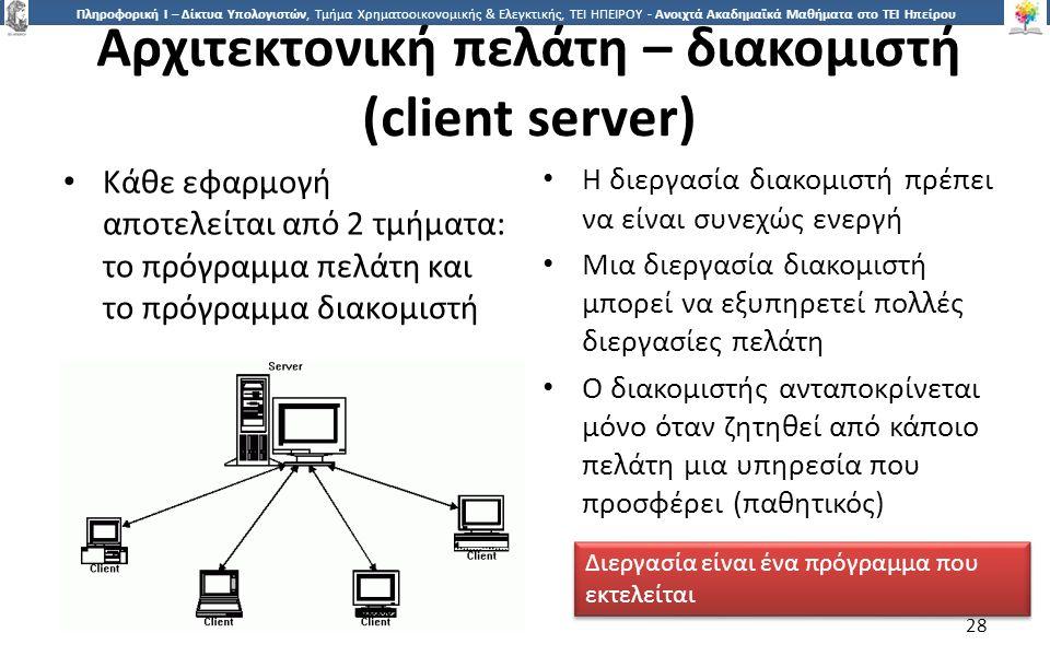 2828 Πληροφορική Ι – Δίκτυα Υπολογιστών, Τμήμα Χρηματοοικονομικής & Ελεγκτικής, ΤΕΙ ΗΠΕΙΡΟΥ - Ανοιχτά Ακαδημαϊκά Μαθήματα στο ΤΕΙ Ηπείρου Αρχιτεκτονική πελάτη – διακομιστή (client server) Κάθε εφαρμογή αποτελείται από 2 τμήματα: το πρόγραμμα πελάτη και το πρόγραμμα διακομιστή Η διεργασία διακομιστή πρέπει να είναι συνεχώς ενεργή Μια διεργασία διακομιστή μπορεί να εξυπηρετεί πολλές διεργασίες πελάτη Ο διακομιστής ανταποκρίνεται μόνο όταν ζητηθεί από κάποιο πελάτη μια υπηρεσία που προσφέρει (παθητικός) Διεργασία είναι ένα πρόγραμμα που εκτελείται 28