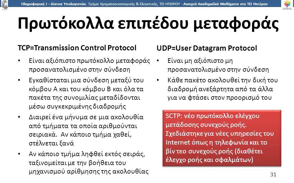 3131 Πληροφορική Ι – Δίκτυα Υπολογιστών, Τμήμα Χρηματοοικονομικής & Ελεγκτικής, ΤΕΙ ΗΠΕΙΡΟΥ - Ανοιχτά Ακαδημαϊκά Μαθήματα στο ΤΕΙ Ηπείρου Πρωτόκολλα επιπέδου μεταφοράς TCP=Transmission Control Protocol UDP=User Datagram Protocol Είναι αξιόπιστο πρωτόκολλο μεταφοράς προσανατολισμένο στην σύνδεση Εγκαθίσταται μια σύνδεση μεταξύ του κόμβου Α και του κόμβου Β και όλα τα πακέτα της συνομιλίας μεταδίδονται μέσω συγκεκριμένης διαδρομής Διαιρεί ένα μήνυμα σε μια ακολουθία από τμήματα τα οποία αριθμούνται σειριακά.