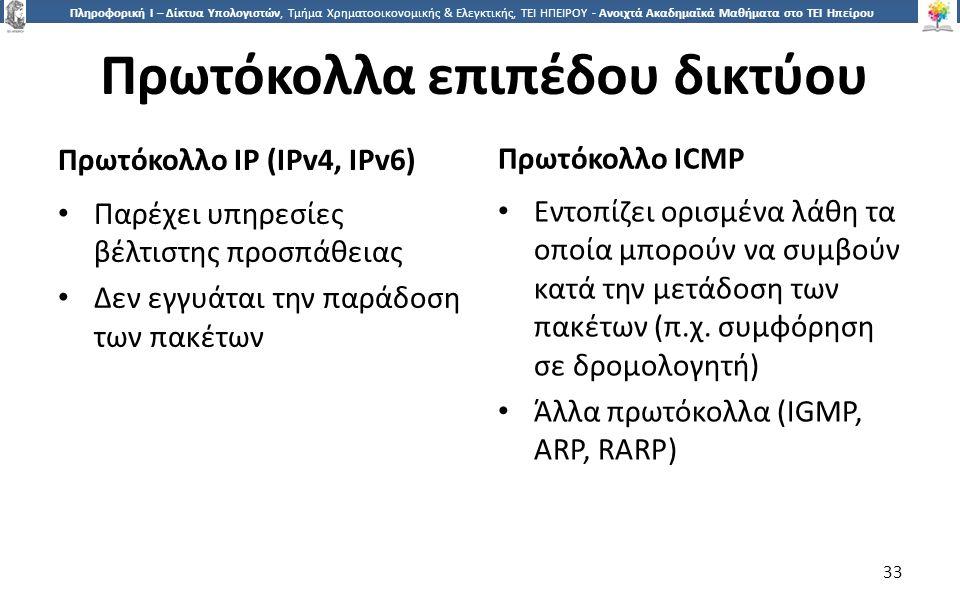 3 Πληροφορική Ι – Δίκτυα Υπολογιστών, Τμήμα Χρηματοοικονομικής & Ελεγκτικής, ΤΕΙ ΗΠΕΙΡΟΥ - Ανοιχτά Ακαδημαϊκά Μαθήματα στο ΤΕΙ Ηπείρου Πρωτόκολλα επιπέδου δικτύου Πρωτόκολλο IP (IPv4, IPv6) Πρωτόκολλο ICMP Παρέχει υπηρεσίες βέλτιστης προσπάθειας Δεν εγγυάται την παράδοση των πακέτων Εντοπίζει ορισμένα λάθη τα οποία μπορούν να συμβούν κατά την μετάδοση των πακέτων (π.χ.