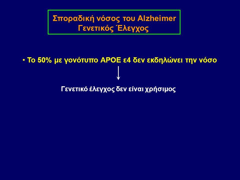 Σποραδική νόσος του Alzheimer Γενετικός Έλεγχος Το 50% με γονότυπο APOE ε4 δεν εκδηλώνει την νόσο Γενετικό έλεγχος δεν είναι χρήσιμος