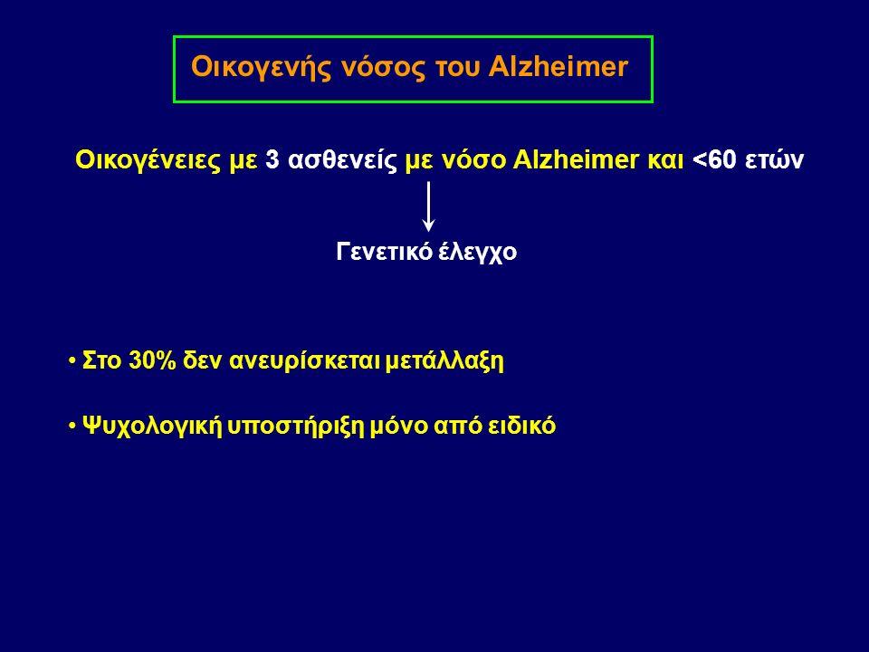Οικογενής νόσος του Alzheimer Οικογένειες με 3 ασθενείς με νόσο Alzheimer και <60 ετών Στο 30% δεν ανευρίσκεται μετάλλαξη Γενετικό έλεγχο Ψυχολογική υποστήριξη μόνο από ειδικό