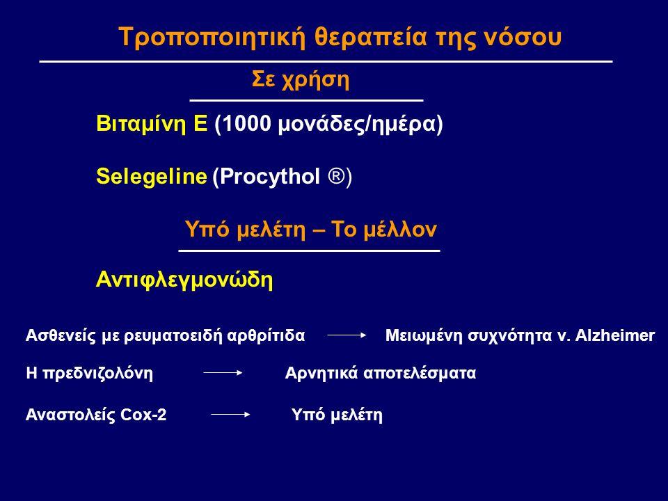 Τροποποιητική θεραπεία της νόσου Βιταμίνη Ε (1000 μονάδες/ημέρα) Selegeline (Procythol ®) Αντιφλεγμονώδη Σε χρήση Υπό μελέτη – Το μέλλον Μειωμένη συχνότητα ν.
