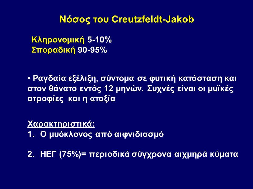Νόσος του Creutzfeldt-Jakob Ραγδαία εξέλιξη, σύντομα σε φυτική κατάσταση και στον θάνατο εντός 12 μηνών.