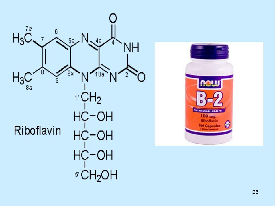 26 Ριβοφλαβίνη Συνήθως, τα συμπτώματα της έλλειψης ριβοφλαβίνης έχουν τη μορφή στοματικών ενοχλήσεων όπως πληγές, κάψιμο στα χείλη και ενοχλήσεις στη γλώσσα.