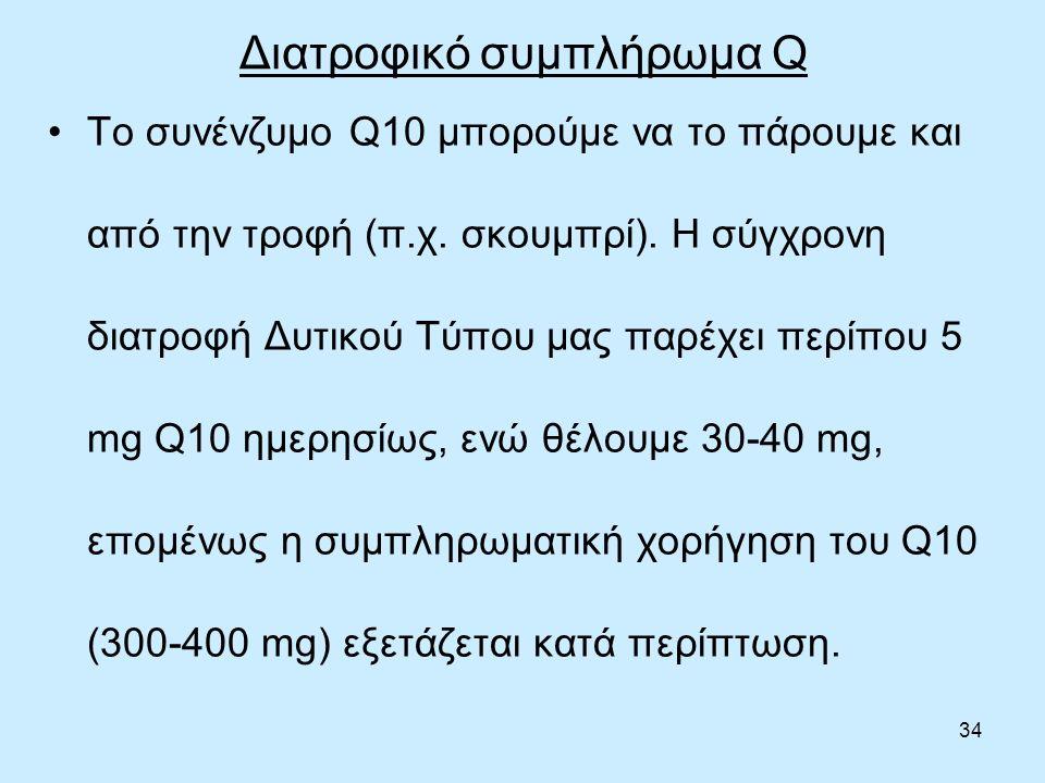 34 Διατροφικό συμπλήρωμα Q Το συνένζυμο Q10 μπορούμε να το πάρουμε και από την τροφή (π.χ.