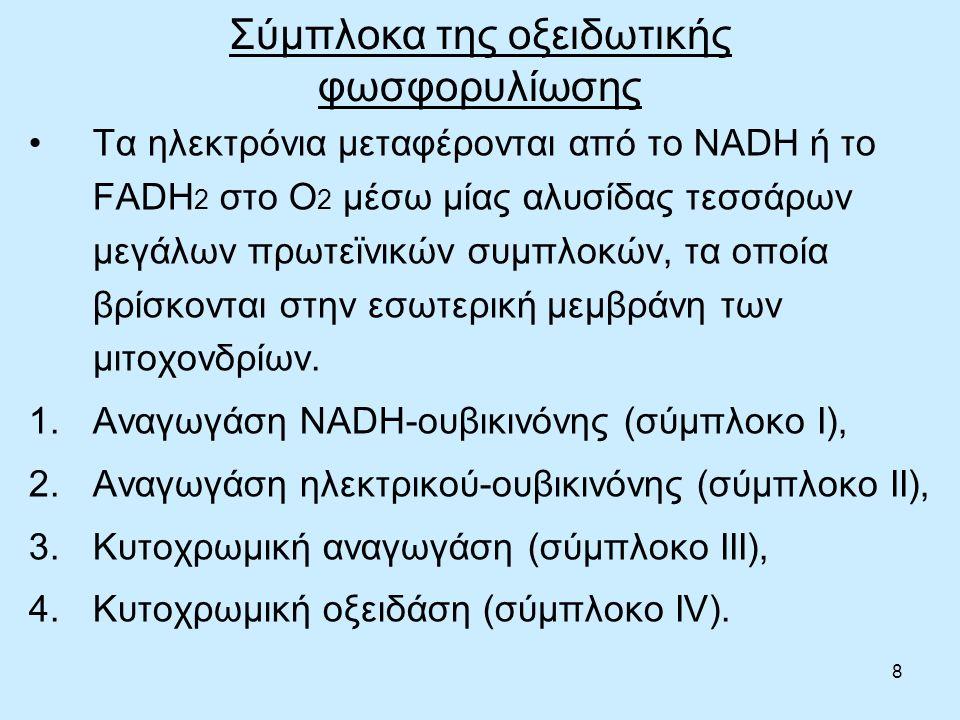 8 Σύμπλοκα της οξειδωτικής φωσφορυλίωσης Τα ηλεκτρόνια μεταφέρονται από το NADH ή το FADH 2 στο O 2 μέσω μίας αλυσίδας τεσσάρων μεγάλων πρωτεϊνικών συμπλοκών, τα οποία βρίσκονται στην εσωτερική μεμβράνη των μιτοχονδρίων.