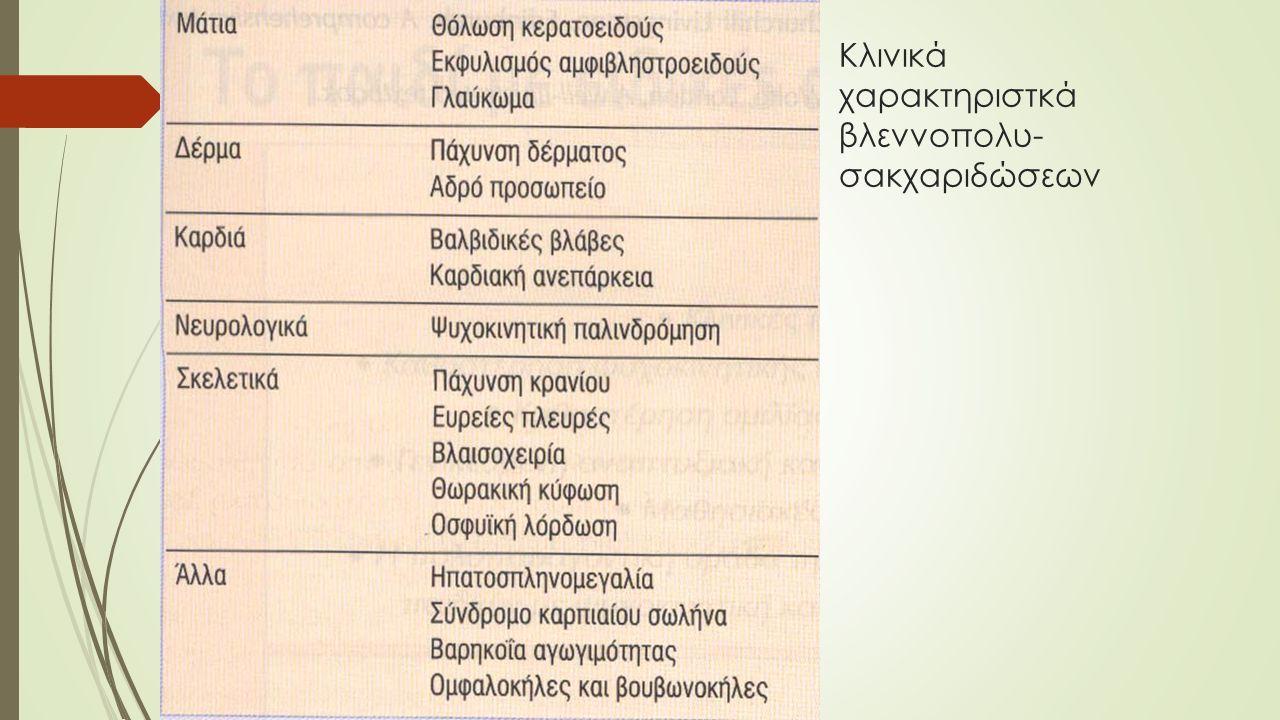 Κλινικά χαρακτηριστκά βλεννοπολυ- σακχαριδώσεων
