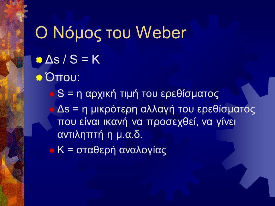 Ο Νόμος του Weber  Δs / S = K  Όπου:  S = η αρχική τιμή του ερεθίσματος  Δs = η μικρότερη αλλαγή του ερεθίσματος που είναι ικανή να προσεχθεί, να γίνει αντιληπτή η μ.α.δ.