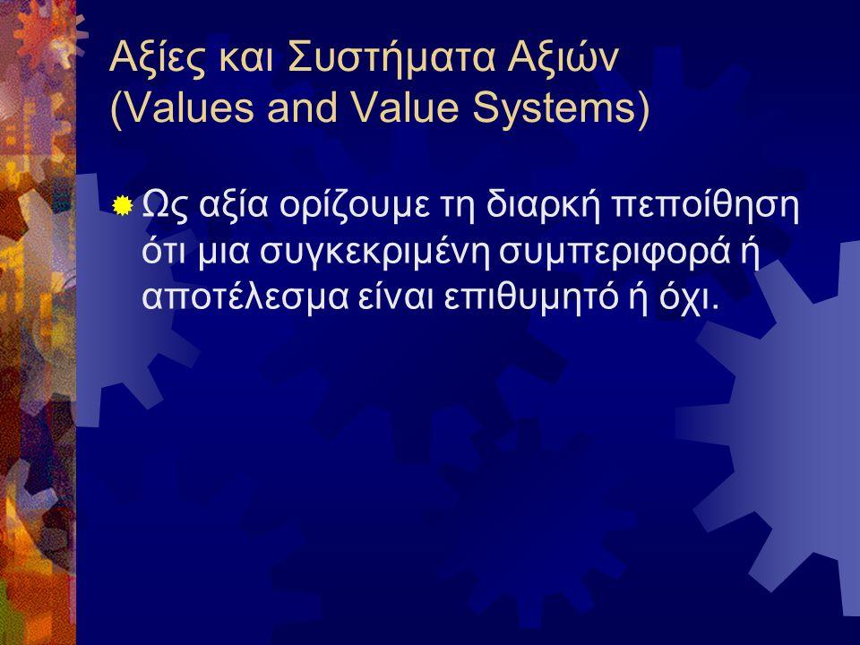 Αξίες και Συστήματα Αξιών (Values and Value Systems)  Ως αξία ορίζουμε τη διαρκή πεποίθηση ότι μια συγκεκριμένη συμπεριφορά ή αποτέλεσμα είναι επιθυμητό ή όχι.