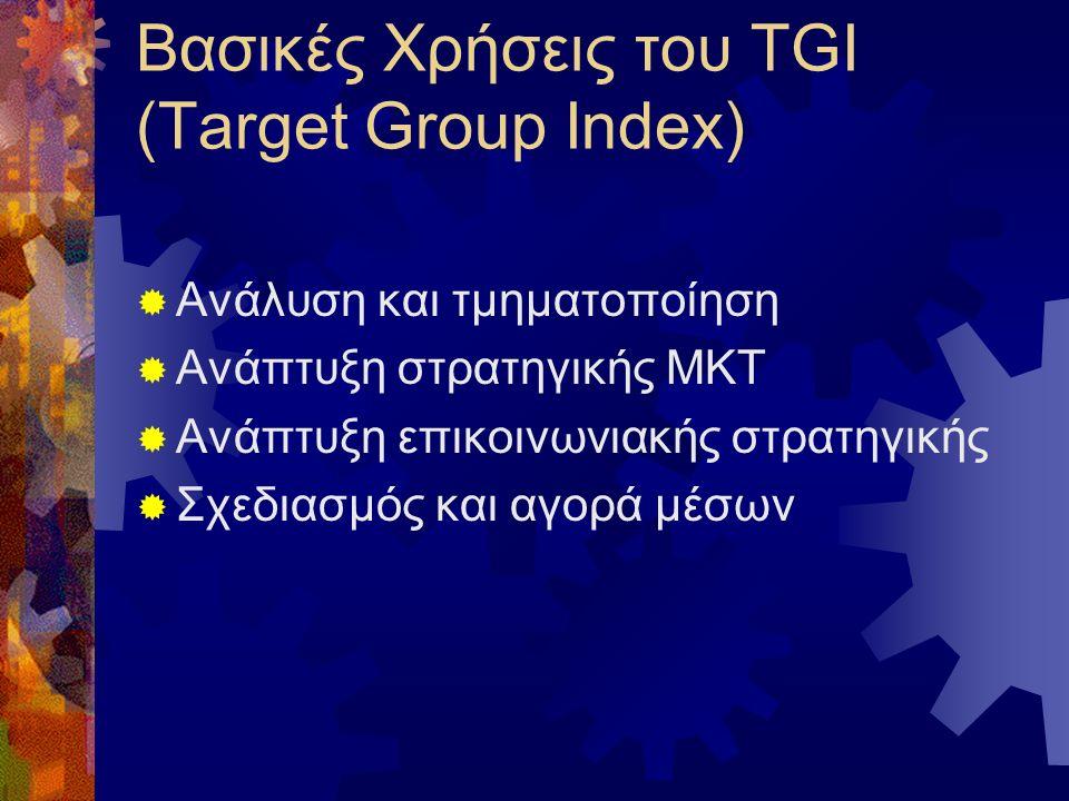 Βασικές Χρήσεις του TGI (Target Group Index)  Ανάλυση και τμηματοποίηση  Ανάπτυξη στρατηγικής ΜΚΤ  Ανάπτυξη επικοινωνιακής στρατηγικής  Σχεδιασμός και αγορά μέσων