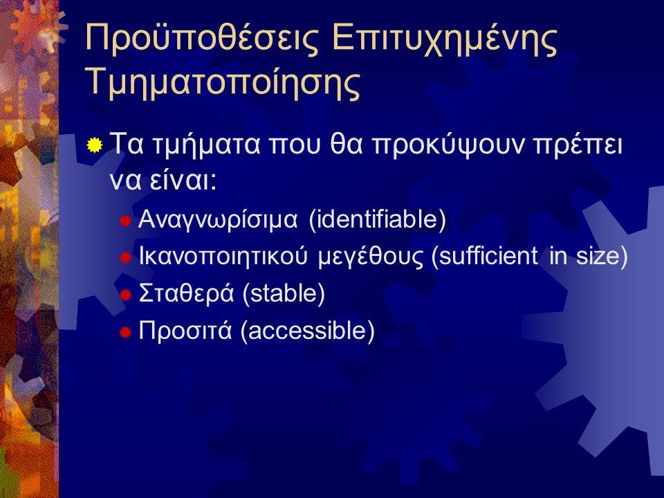 Προϋποθέσεις Επιτυχημένης Τμηματοποίησης  Τα τμήματα που θα προκύψουν πρέπει να είναι:  Αναγνωρίσιμα (identifiable)  Ικανοποιητικού μεγέθους (sufficient in size)  Σταθερά (stable)  Προσιτά (accessible)