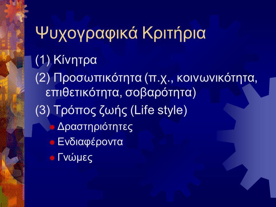 Ψυχογραφικά Κριτήρια (1) Κίνητρα (2) Προσωπικότητα (π.χ., κοινωνικότητα, επιθετικότητα, σοβαρότητα) (3) Τρόπος ζωής (Life style)  Δραστηριότητες  Ενδιαφέροντα  Γνώμες