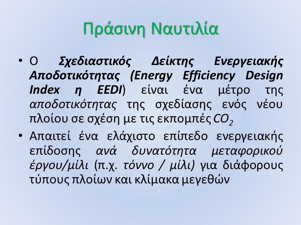 Πράσινη Ναυτιλία Ο Σχεδιαστικός Δείκτης Ενεργειακής Αποδοτικότητας (Energy Efficiency Design Index η EEDI) είναι ένα μέτρο της αποδοτικότητας της σχεδ