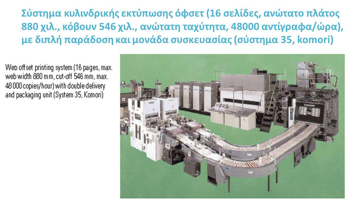 Σύστημα κυλινδρικής εκτύπωσης όφσετ (16 σελίδες, ανώτατο πλάτος 880 χιλ., κόβουν 546 χιλ., ανώτατη ταχύτητα, 48000 αντίγραφα/ώρα), με διπλή παράδοση και μονάδα συσκευασίας (σύστημα 35, komori)