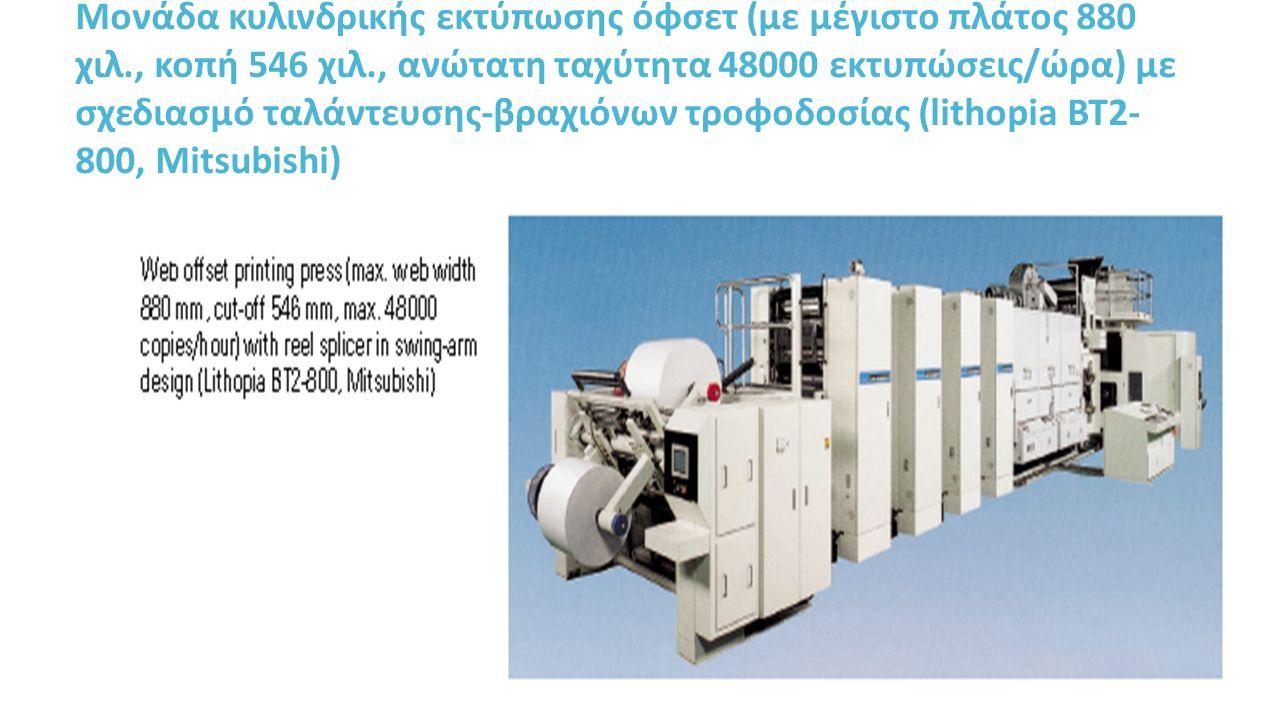 Μονάδα κυλινδρικής εκτύπωσης όφσετ (με μέγιστο πλάτος 880 χιλ., κοπή 546 χιλ., ανώτατη ταχύτητα 48000 εκτυπώσεις/ώρα) με σχεδιασμό ταλάντευσης-βραχιόνων τροφοδοσίας (lithopia BT2- 800, Mitsubishi)