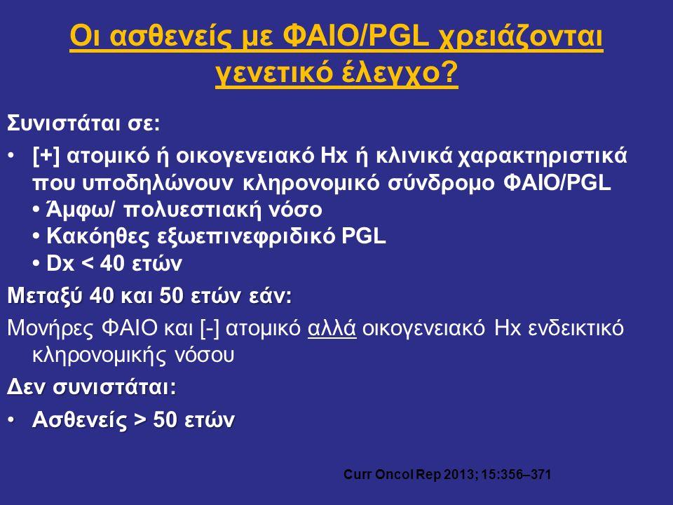 Οι ασθενείς με ΦΑΙΟ/PGL χρειάζονται γενετικό έλεγχο? Συνιστάται σε: [+] ατομικό ή οικογενειακό Hx ή κλινικά χαρακτηριστικά που υποδηλώνουν κληρονομικό
