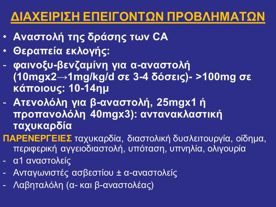 ΔΙΑΧΕΙΡΙΣΗ ΕΠΕΙΓΟΝΤΩΝ ΠΡΟΒΛΗΜΑΤΩΝ Αναστολή της δράσης των CA Θεραπεία εκλογής: -φαινοξυ-βενζαμίνη για α-αναστολή (10mgx2→1mg/kg/d σε 3-4 δόσεις)- >100